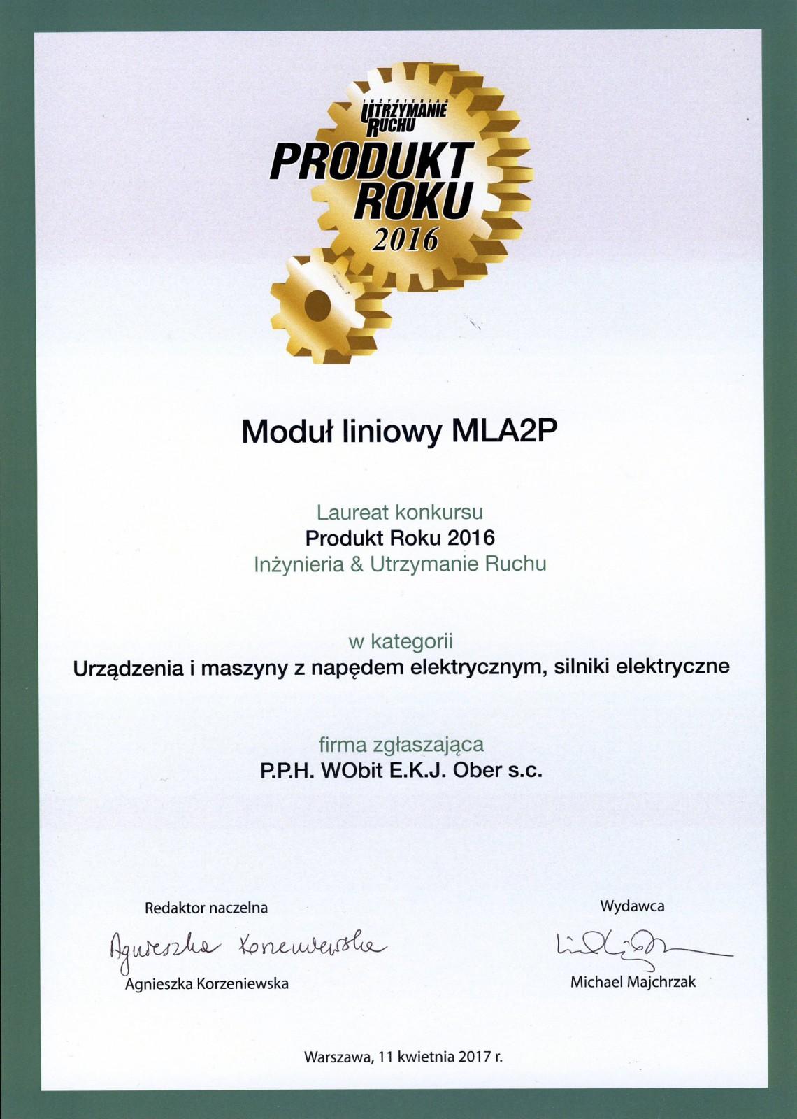MLA2P Produktem Roku 2016!